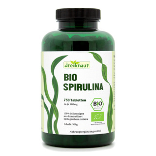 Organic spirulina tablets from controlled aquaculture, 4-month supply, 750 tablets (400 mg)